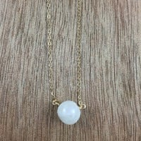 14k gold filled moonstone bead necklace / bridesmaid necklace / dainty necklace / minimalist necklace / June birthstone necklace