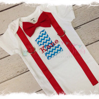 BOYS Personalized FIRST BIRTHDAY Bodysuit-Boys Birthday Bodysuit with Turquoise Chevron 1, Red Suspenders and Bow Tie-Cake Smash