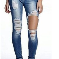 Cut Out Rough Big Holes Curled Long Skinny Jeans