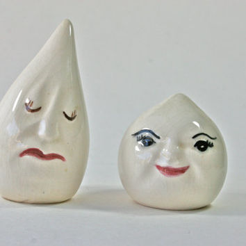 Vintage Drip and Drop Salt and Pepper Shakers Anthropomorphic Shaker Set