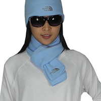 2 PCS SET The North Face Womens Thermal Fleece Winter Scarf & Beanie Hat one size Light Blue