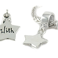 Wish Upon A Star Sterling Silver Charm for European Style Bracelets