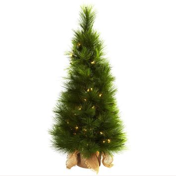 Artificial Tree -3 Foot Christmas Tree With Burlap Bag And Clear Lights