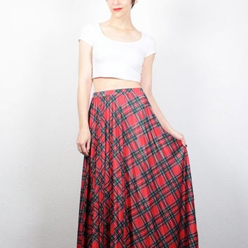 Vintage 70s Skirt Red Green Blue Tartan Plaid Skirt Maxi Skirt Long Pleated Skirt 1970s Skirt Hippie Skirt Grunge Skirt M Medium L Large