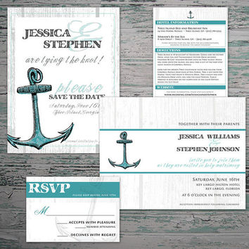 Our Love is an Anchor - Nautical Wedding Invitation, RSVP Card, Save the Date and Wedding Insert
