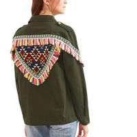 SheIn Women Coats and Jackets Vintage Single Breasted Olive Green Jacket With Embroidered Patch And Tassel Detail