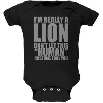 Halloween Human Lion Costume Black Soft Baby One Piece