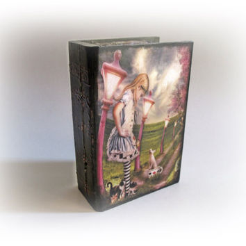 Alice in Wonderland  Alice Book Box Trinket Jewelry Box Alice's Adventures Box Alice Decoupage Box Personalized Book Box  White Rabbit