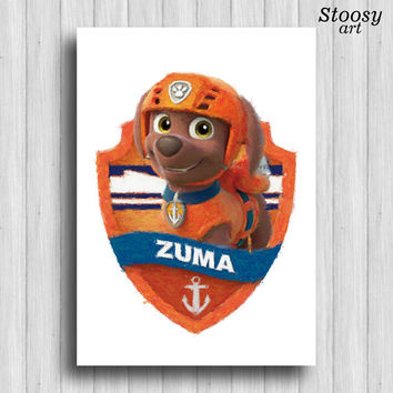 paw patrol Zuma poster cartoon dog decor