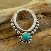 Silver Septum For Pierced Nose - Nose jewelry - Septum Jewelry - Indian Nose Ring - Ethnic Septum - Septum Piercing (Code: S22)