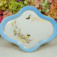 Antique Hand Painted Paris Porcelain Limoges Tray Meadow Visitor Butterfly