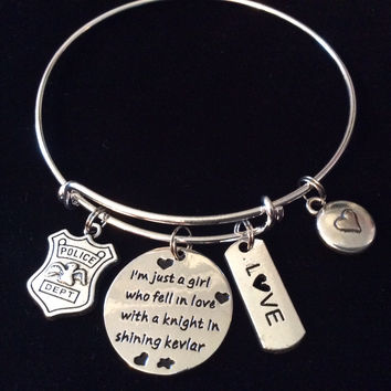 I'm just a Girl who fell in Love with a Knight in shining Kevlar Expandable Adjustable Wire Bangle Occupational Police Badge Department Wife Gift