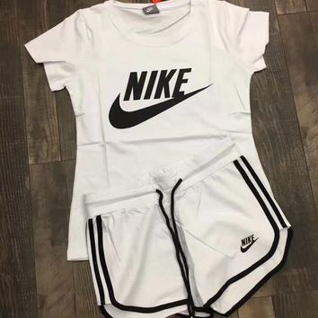 nike women fashion print short sleeve top shorts sweatpants set two piece sportswear