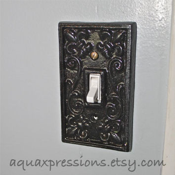 Black decorative light switch plate from aquaxpressions on etsy - Wrought iron switch plate covers ...