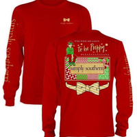 Simply Southern Christmas Youth Size To Be Preppy Shirt - Red