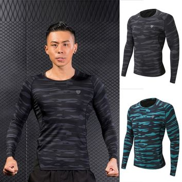 Man Workout Fitness Sports Gym Running Yoga Athletic Shirt Top Long Sleeve