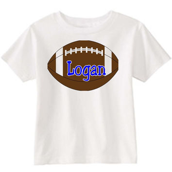 Football on Personalized White T-Shirt Blue
