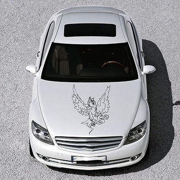 ANIMAL EAGLE BIRD WINGS DESIGN HOOD CAR VINYL STICKER DECALS ART MURALS SV1477