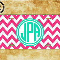 Personalized monogram chevron license plate - Hot pink with Tiffany blue - chevron car tag monogram, front license plate initials (1033)