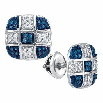 10kt White Gold Women's Round Blue Color Enhanced Diamond Checkered Stud Earrings 1-4 Cttw - FREE Shipping (US/CAN)