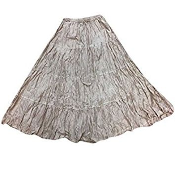 Mogul Womens Vintage Skirt Grey Crinkle A-line Flirty Boho Gypsy Long Skirts