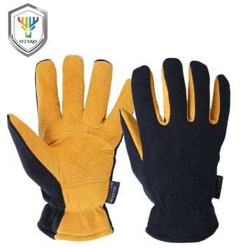 OZERO Deerskin Winter Warm Gloves Men's Work Driver Windproof Security Protection Wear Safety Working For Men Woman Gloves 9009