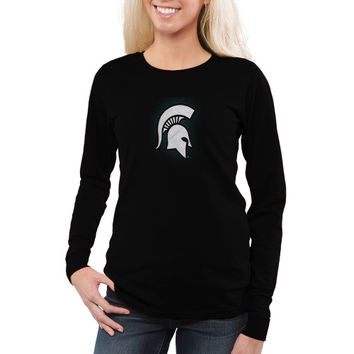 Michigan State Spartans Women's Chrome Fusion Fitted Long Sleeve T-Shirt – Black