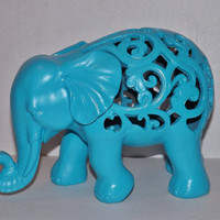 TURQUOISE BLUE Elephant Statue / Figurine / Modern Home decor / Animal Decor /  Turquoise Blue