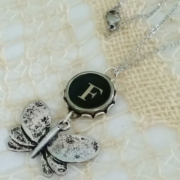"""Letter F Typewriter Key Necklace, Butterfly Charm Necklace, 20"""" Stainless Steel Chain, Antique Typewriter Key Jewelry, Initial F Necklace"""
