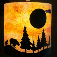 Bears at Sunset Paper Lamp Shade, Watercolor and Paper Silhouettes