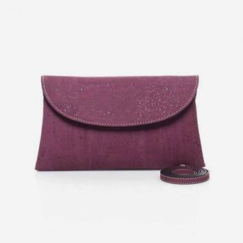 Violet Cork Clutch with Detachable Crossbody