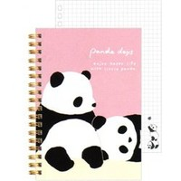 San-X Panda Days B6 Hard Cover Spiral Notebook: Pink