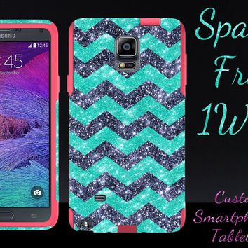 OtterBox Samsung Galaxy Note 4 Custom Glitter Case Commuter Series - Retail Packaging - Small Smoke Chevron Wintermint/Pink