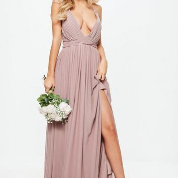 Missguided - Bridesmaid Pink Pleated Mesh Maxi Dress