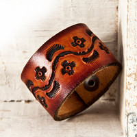 Old World Leather Wristband Cuff Artisan by rainwheel on Etsy