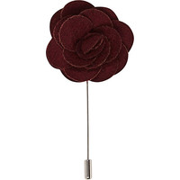 River Island MensRed rose lapel pin