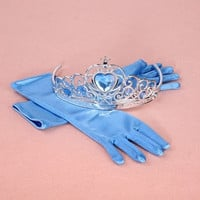 Frozen Elsa Inspired Girls Dress Up Gloves and Tiara Crown Costume Accessories Deep Blue Gloves = 1958096772