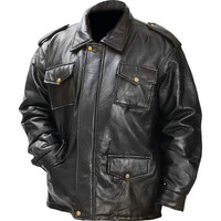 Giovanni Navarre Italian Stone Design Genuine Leather Field Jacket- 2x