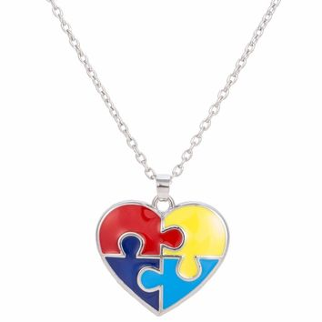 Enamel Autism Awareness Heart Puzzle Piece Autistic Pendant Necklace Jewelry