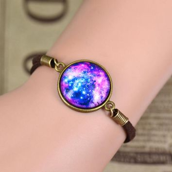 LNRRABC Vintage Woven Bracelet Handmade/DIY Galactic Glass Cabochon Space Leather Bracelets femme for Women Best Friend Gift