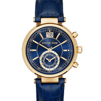 39mm Sawyer Leather Strap Watch, Navy - Michael Kors
