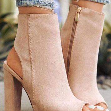 New Women Apricot Round Toe Chunky Cut Out Casual Ankle Boots