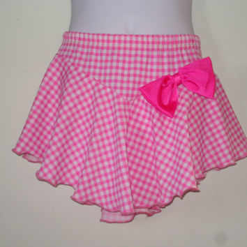 Girl's Figure Skating Skirt, Pink & White Gingham w/ Charming Solid Pink Movable/Removable Bow, Skater Skirt Dress