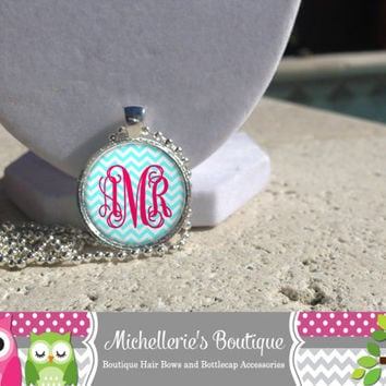 Tiffany Blue Chevron and Hot Pink Monogram Pendant Necklace,Tiffany Blue Chevron Monogram Cuff Bangle Bracelet,Monogram Bracelet