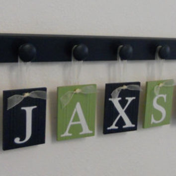 Sailboat Art Nursery Decor Includes Baby Name Hanging Wall Letters Sail Boats and 8 Wood Hooks Light Green and Navy A Gift for JAXSON