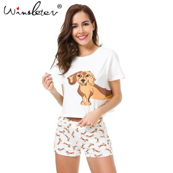 Best Seller Cute Women's Pajama Sets Dachshund Print 2 Pieces Set Dog Crop Top + Shorts Elastic Waist Loose Plus Size S6706