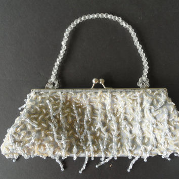 Bijoux Terner Gray Beaded Evening Bag