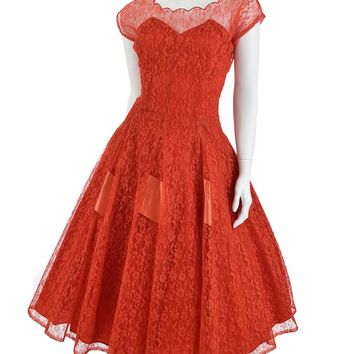 50's Red Lace Princess Style Party Dress-S