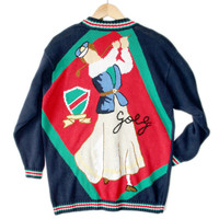 """Ladies League"" Oversized Golf Cardigan Tacky Ugly Sweater - The Ugly Sweater Shop"
