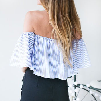 She's Breathtaking Off The Shoulder Crop Top - White